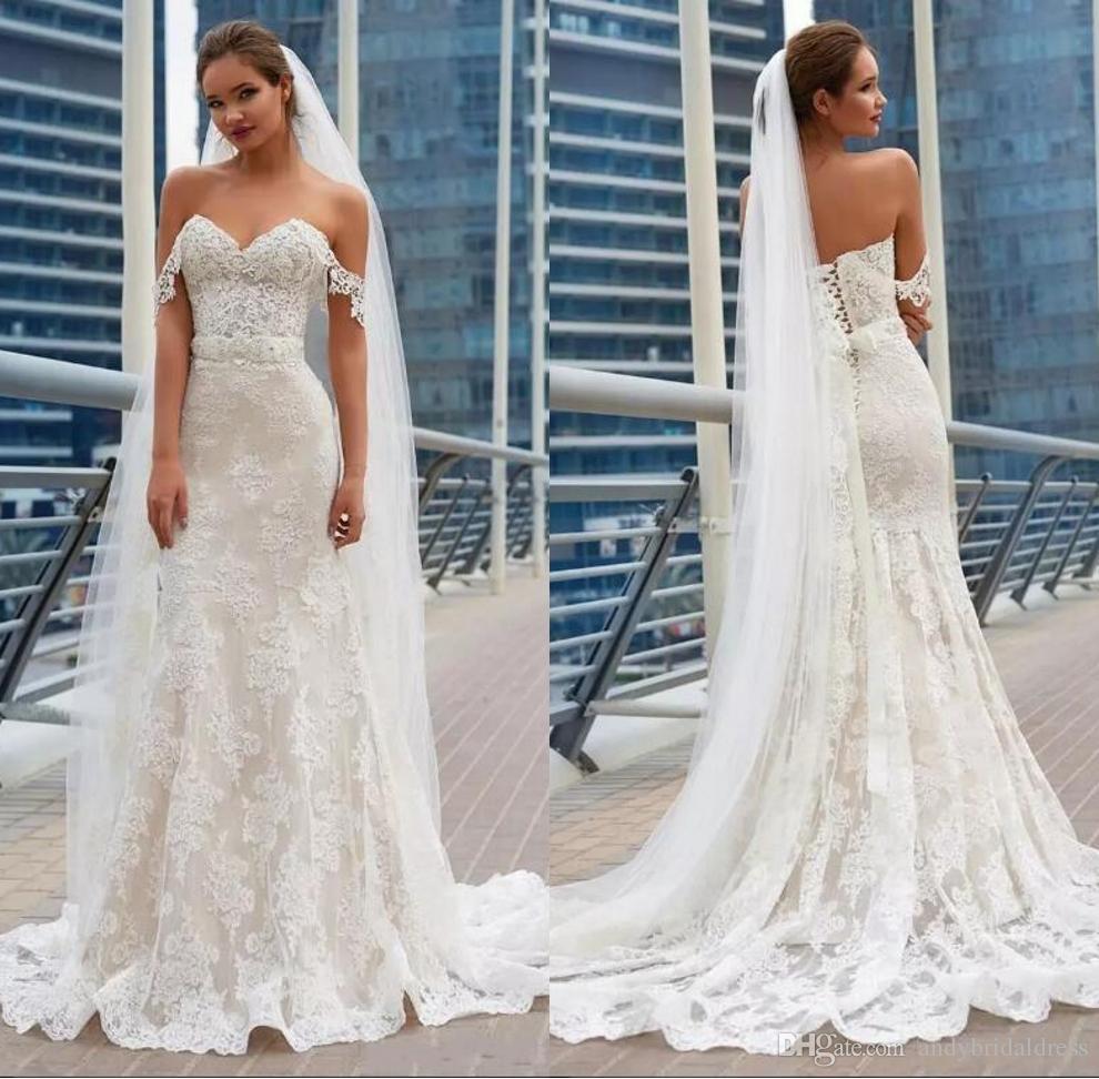 2019 Gorgeous Mermaid Lace Wedding Dresses Elegant Full Lace Appliques Corset Back Cheap Long Train Wedding Gowns Bridal Gowns