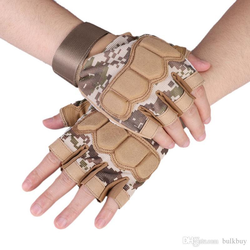 Открытый тактический армия боевые военные перчатки велосипед пальцев пейнтбол половина палец перчатки кемпинг охота Велоспорт перчатки