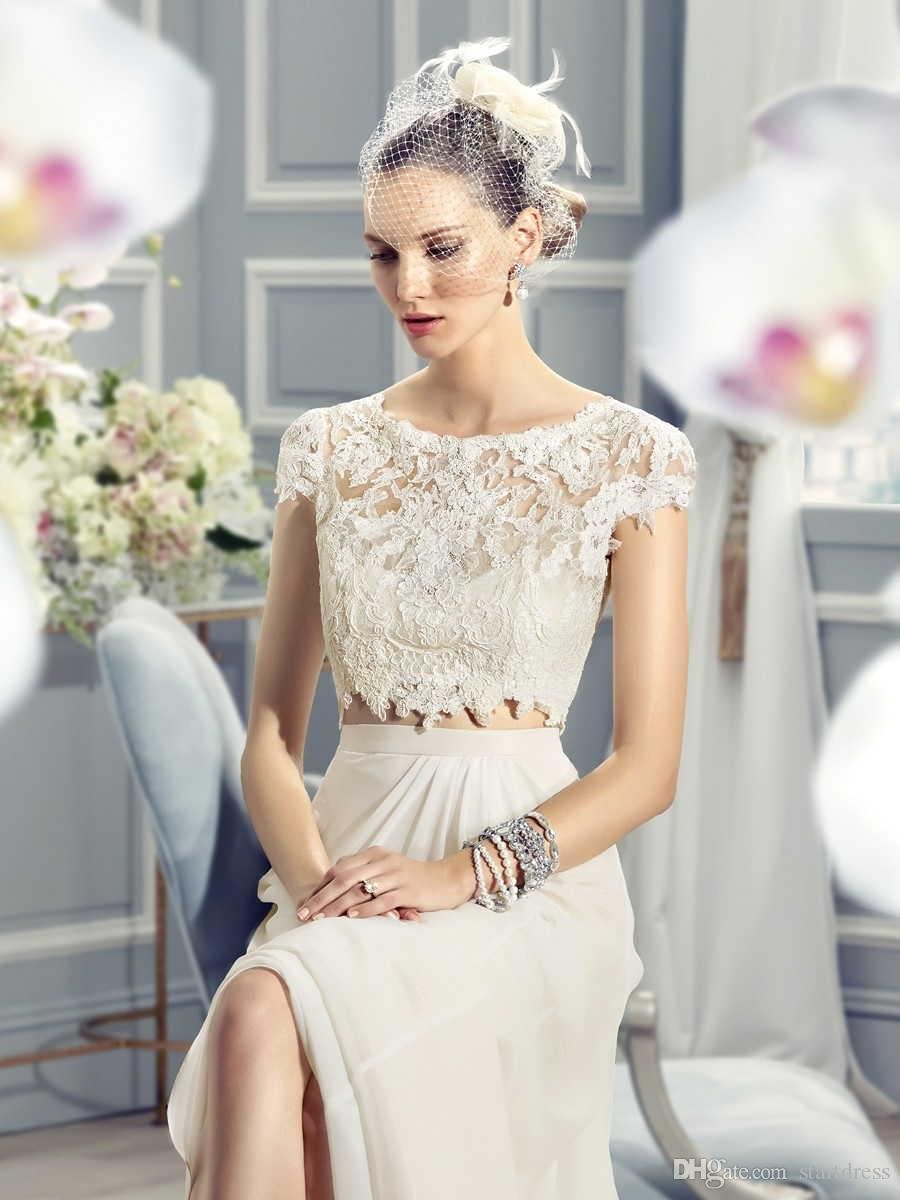 Cheap Chiffon Lace Bohemian Country 2 Piece Wedding Dresses Boat Neck Cap Sleeve Floor Length Applique Designer Bridal Gowns uk 2018 vintage