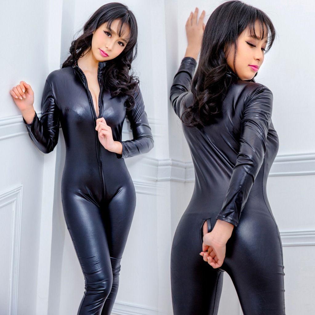 Frauen Sexy Schwarz Geöffneter Schritt Zentai Catsuit Overall Spandex Kunstleder Leggings Hosen Club Reißverschluss Langarm