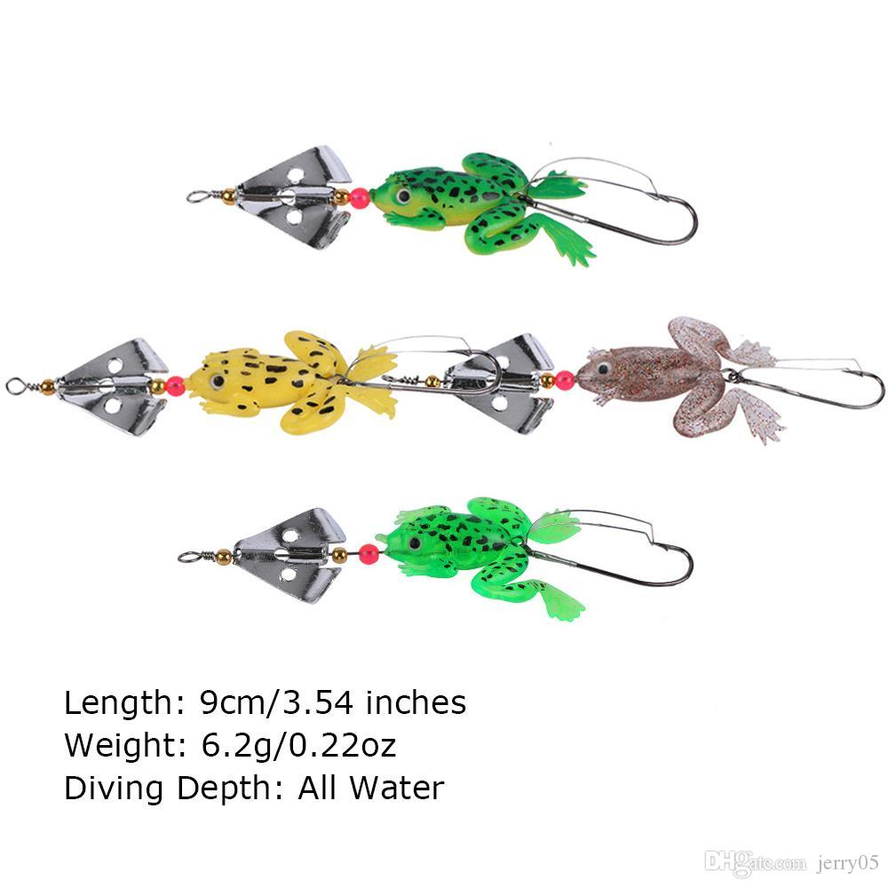 Goture 8 pz / lotto All Water Fishing Lure Frog Soft Lure 9cm 6.2g Selicone Bait con Spinner Bass Carp Fishing Tackle
