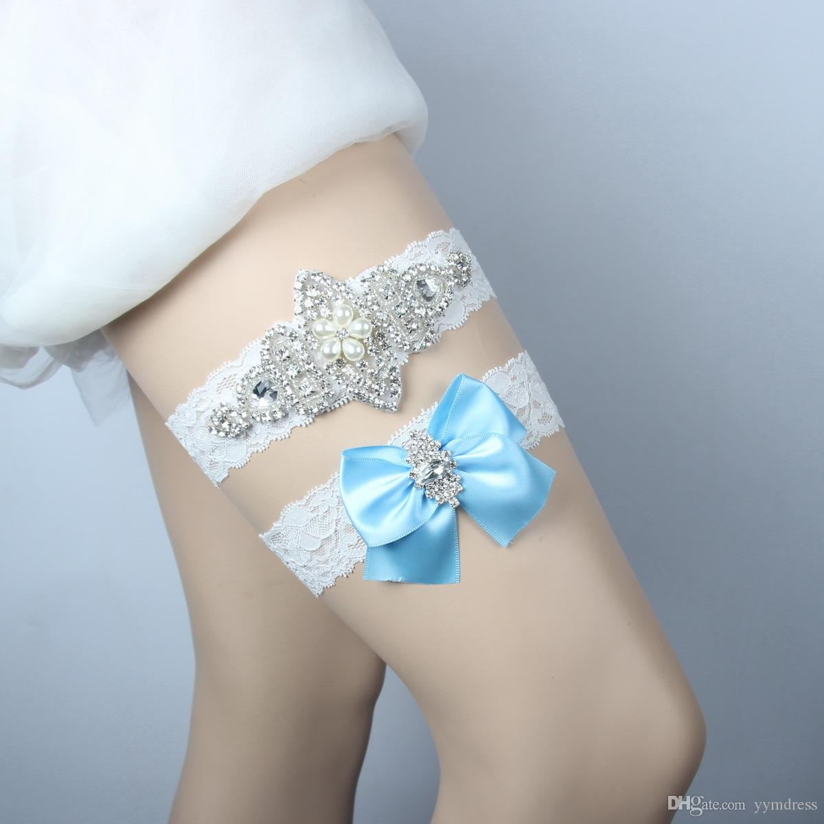 Braut Leg Strumpfbänder Hochzeit Strumpfbänder Blau 2 Stück Set Royal Blue Bow Blumen Prom Garter Braut Hochzeit Strumpfbänder Gürtel
