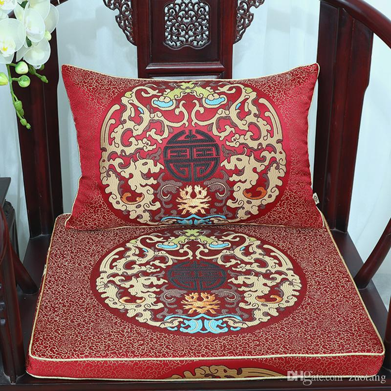 Luxury Chinese Silk Satin Chair Cushion Classic High End Thicken sponge Damask Backrest Pad Cushion Seat Home Decor Lumbar Pillow