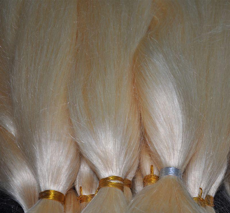 Blonde Color 613 # Extensiones brasileñas del pelo del trenzado a granel sin pelo de la trama 100G / PC 3PCS Pelo recto natural de la Virgen, DHL LIBRE