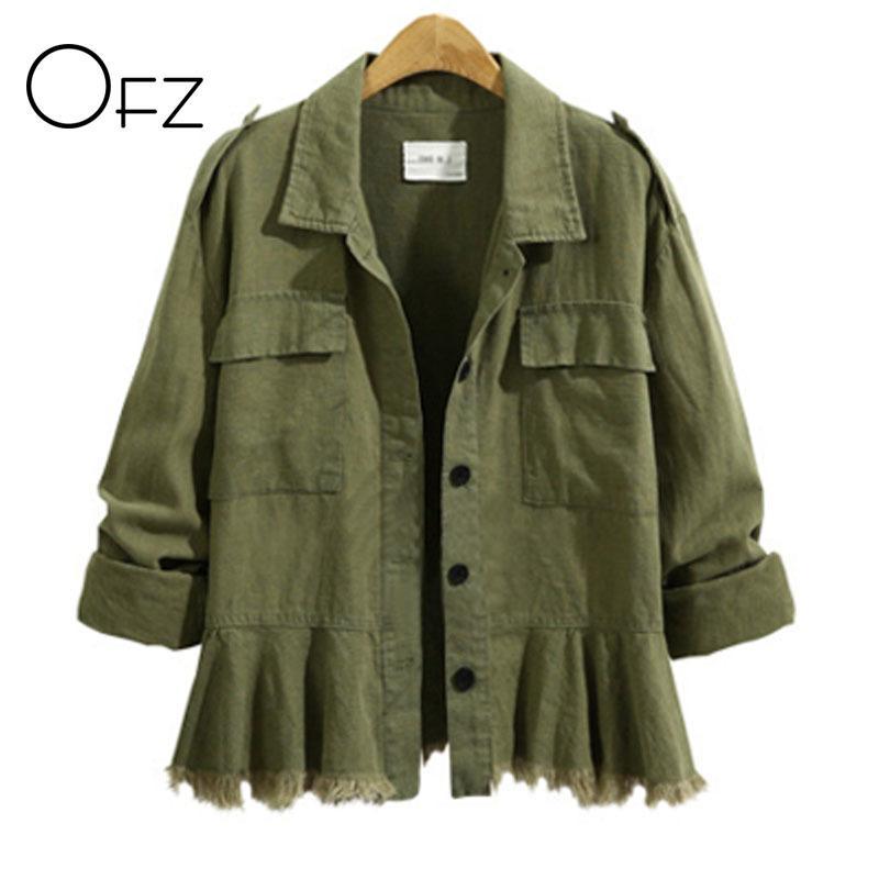 OFZ 2017 Autumn Winter Plus Size 5XL Women Long Sleeve Jackets Vintage Tassels Ladies Coats Cotton Army Green Skirt Outerwear S18101102