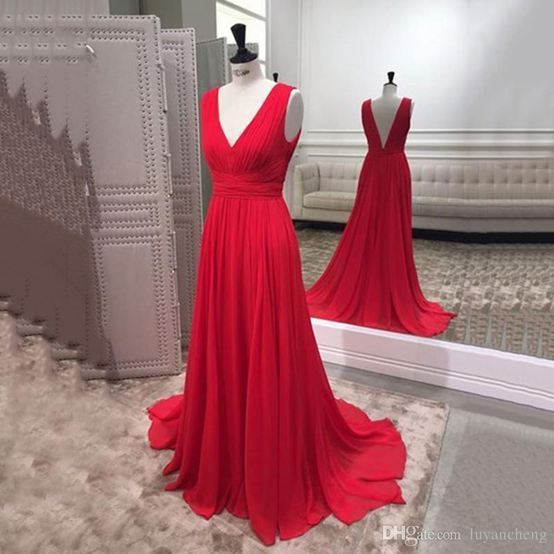 Simple 2019 Red Vestidos largos de noche Sin mangas Doble V cuello gasa Vestido de fiesta de noche formal Vestidos de fiesta por encargo