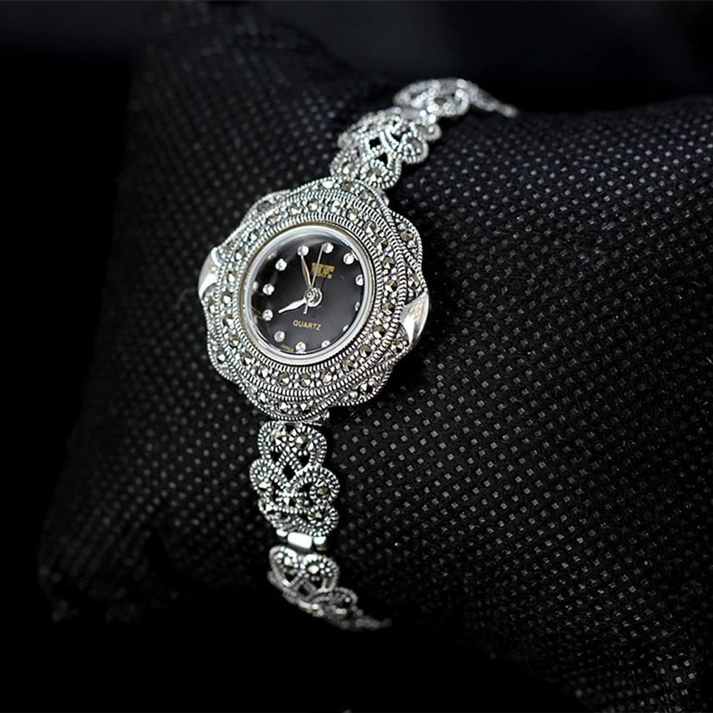 MetJakt Vintage Quartz Bracelet Watch with Zircon Solid 925 Sterling Silver Bracelet for Women's  Thai Silver Jewelry