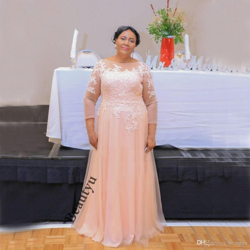Light Pink Mother Of The Bride Dresses 2018 New Long Sleeve A Line Lace  Long Prom Party Dress Formal Plus Size Evening Gowns Mother Of The Groom ...