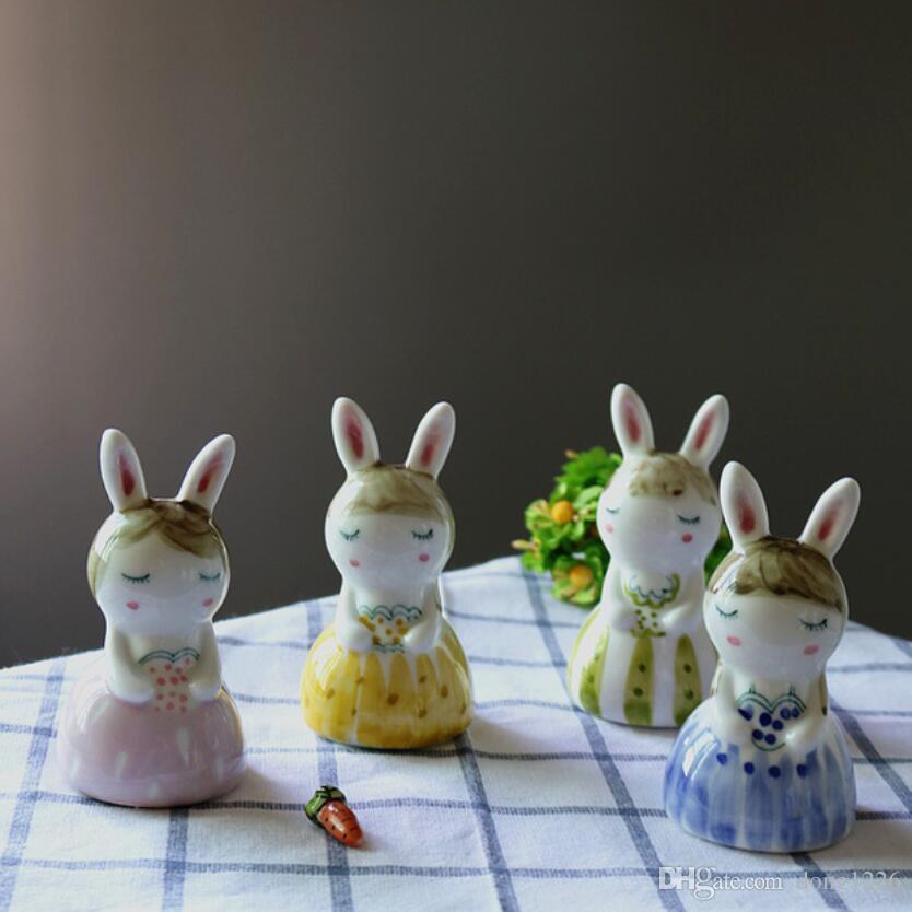 Ceramica carino Miss coniglio signorina ragazze statua artigianato arredamento casa decorazione della stanza artigianato ornamento porcellana figurine di animali