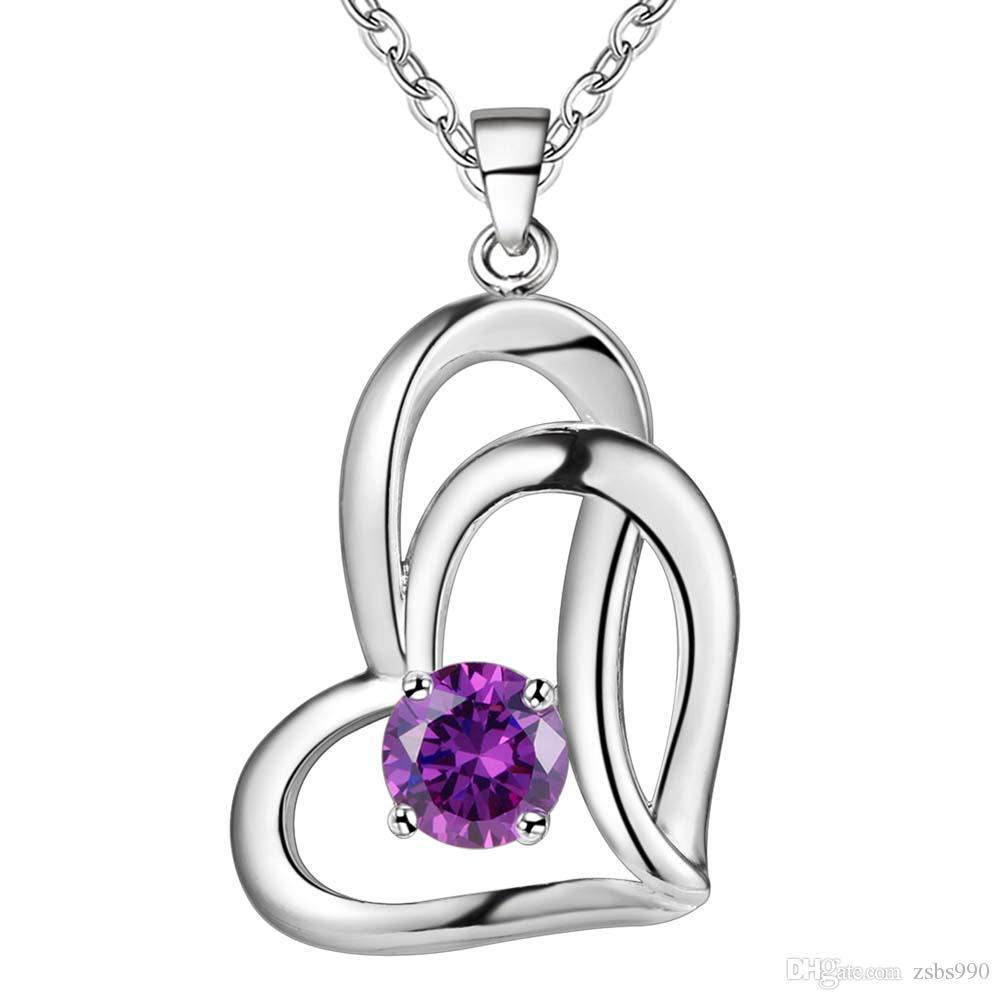 En gros 925 Sterling Silver Plated Coeur En Forme de Zircon Pendentif Collier De Mode Cadeau De Saint Valentin Bijoux Livraison Gratuite Bonne Qualité
