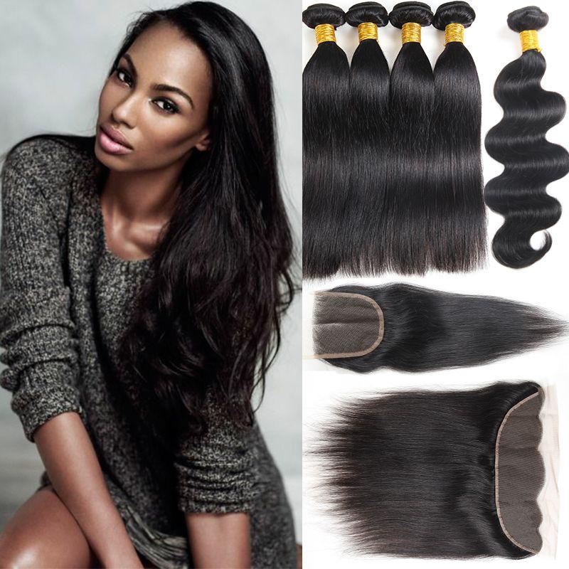 Extensiones de cabello humano brasileño Paquetes de onda corporal con cierre del cabello humano recto con el cabello humano de Remy Indian Mongolian frontal
