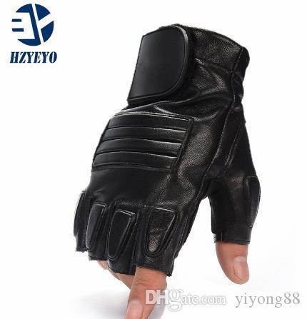 HZYEYO للدراجات النارية قفاز قفازات زر للجنسين فنجر نصف جلد السيارات القفاز لتعليم قيادة السيارات، ملابس قفازات التكتيكية الجيش الرياضة M-1001