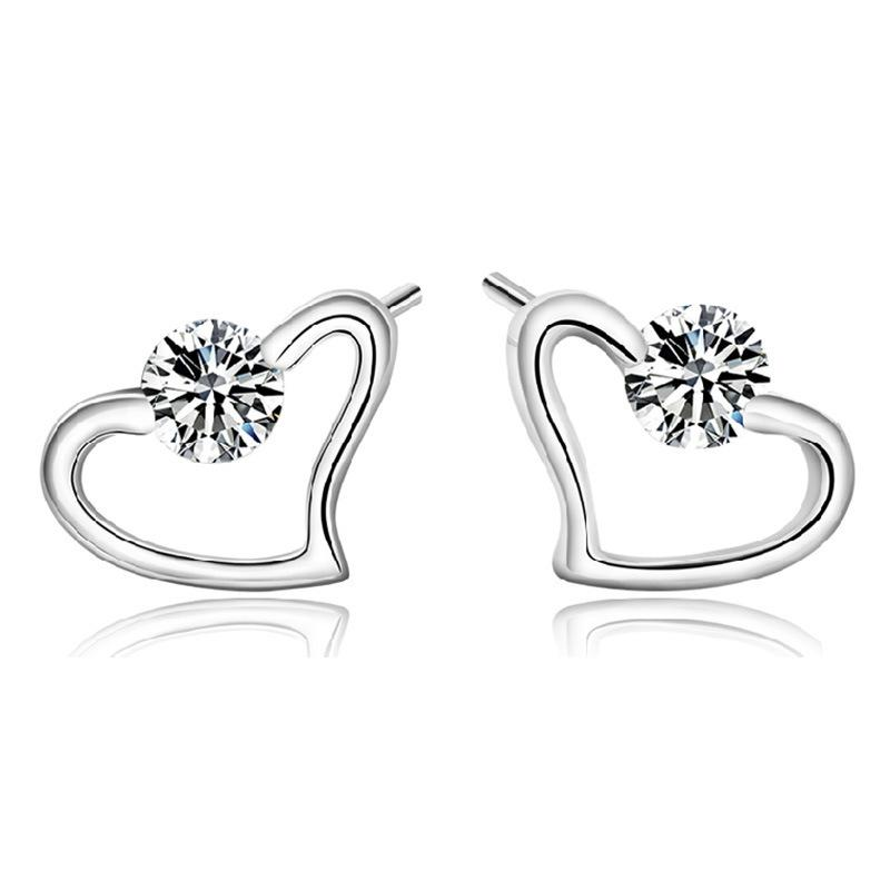 Ornaments Confession Xinyu Heart Plate With Silver Ear Nail Woman Exceed Flash Zirconium Drill Gas Fashion