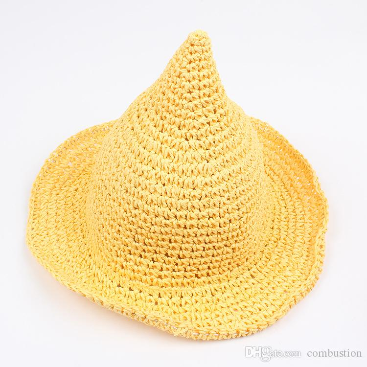 Outdoor Girls Straw Hat Along The Sunhat Spring And Summer Autumn Baby Hand-knit Witch Tip Cap
