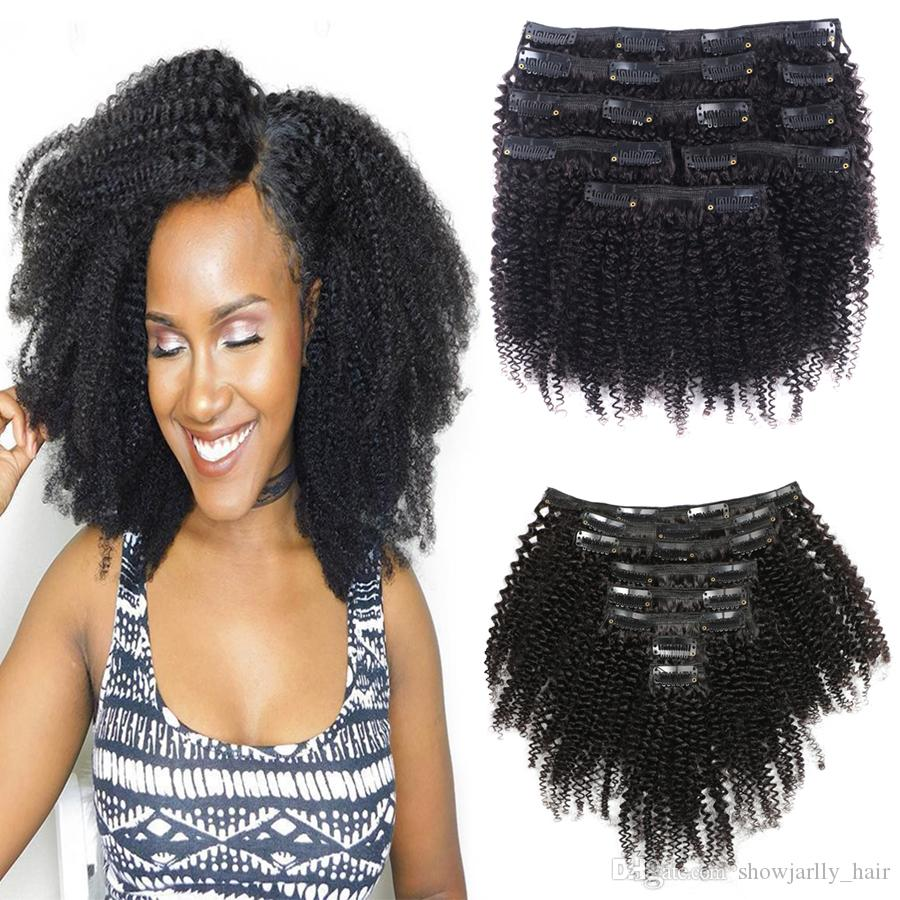 Afro Kinky Curly Clip In Human Hair Extensions Seamless Clip in Hair Triple Wefts 8 Pcs/Set Clips 4B 4C Pattern Sew in 10a Grade Virgin Hair