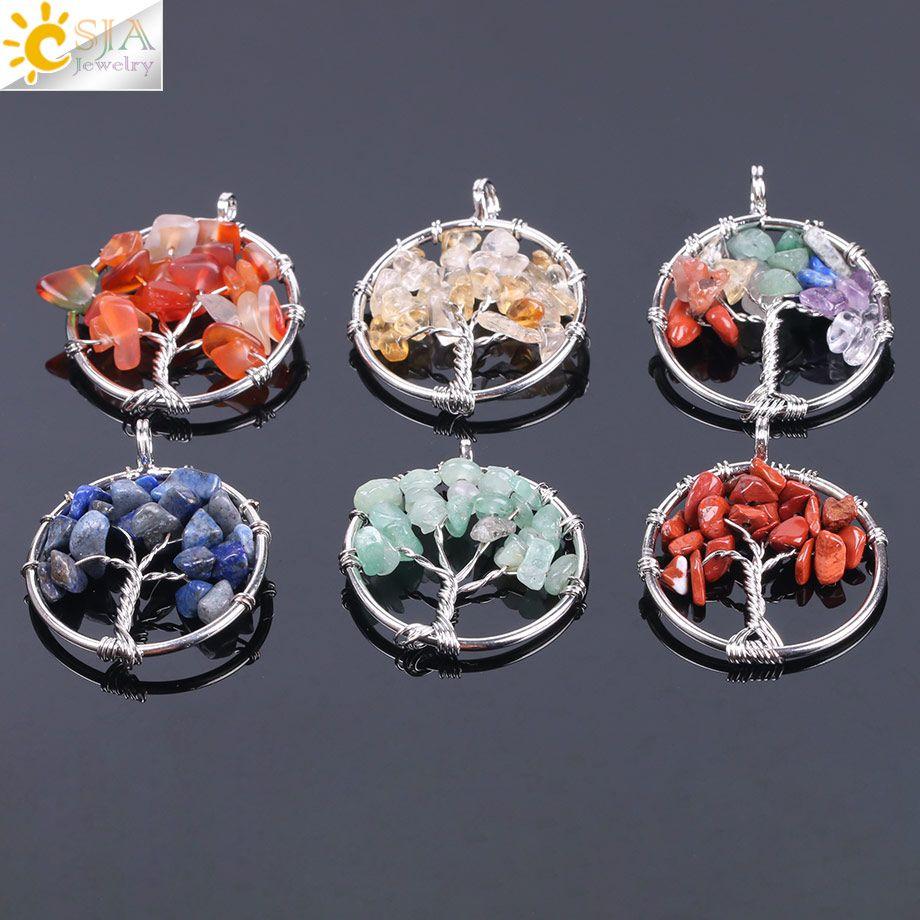 CSJA Baum des Lebens Anhänger Großhandel Natürliche Chakra Edelstein Perlen Chips Silber Anhänger für HalsketteChoker Ohrring-Armband-Schmucksachen F141