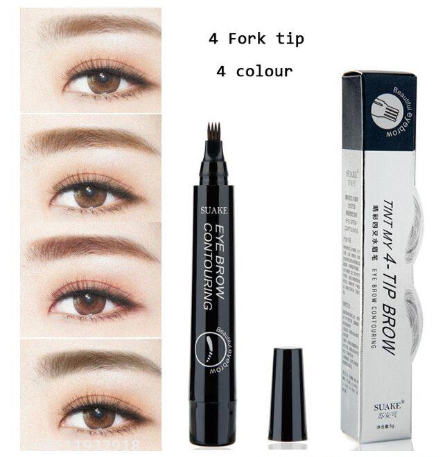 8pcs/lot 4 Micro Fork tip Eyebrow Tattoo Pen Fine Sketch Liquid Eyebrow Pen Waterproof Tattoo Durable Henna Eye Brow Pencil Makeup