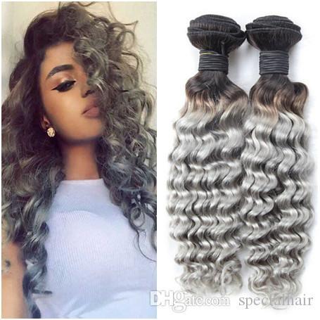 El pelo humano peruano de la Virgen 1B / gris 2Tone Ombre teje ondulado profundo del pelo de la Virgen de las tramas de la onda Extensiones 3Pcs paquetes del pelo humano del gris de plata Ombre