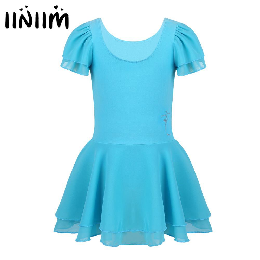 iiniim Kids Tutu Ballet Dance Dress Leotard Costume Fitness Gymnastics Wear Leotard Cosplay Perform Ballerina Girls Child Dress
