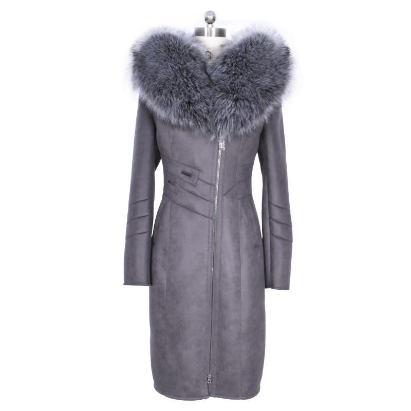 فو الفراء معطف الشتاء النساء طويل وجديد الموضة حجم كبير سترة مثير الفضة الاصطناعي طوق جلد الغزال خندق هود ضئيلة سحاب
