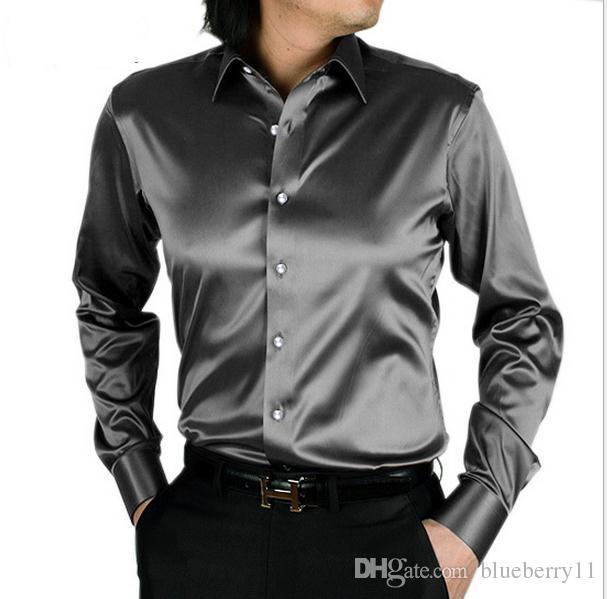 Moda Masculina Camisa Moda Coréia De Seda Camisa De Cetim Mens Manga Longa Casuais Casuais Camisa Preto Branco Vestido De Noiva