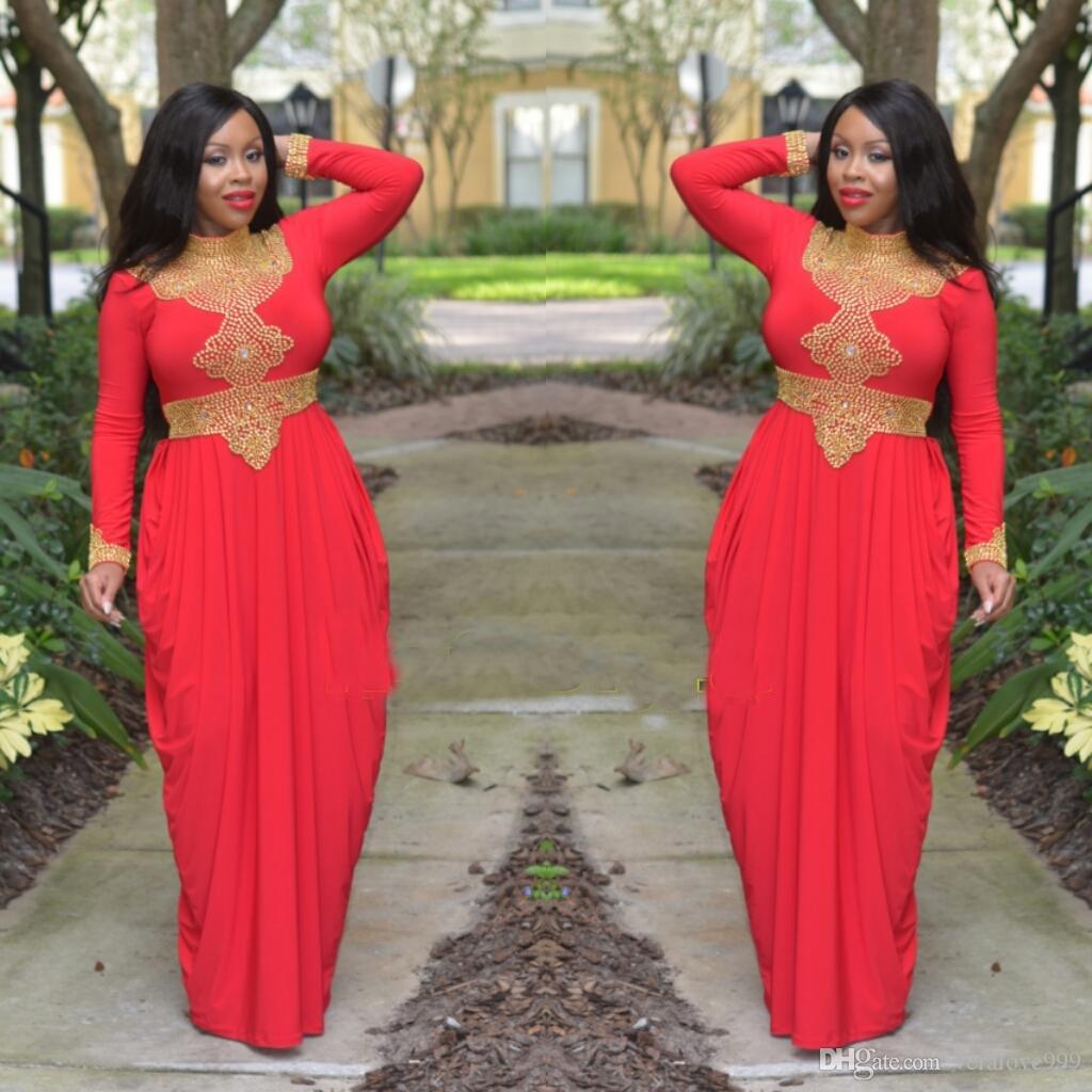Morrocan Kftan Vermelho e Contas de Ouro Turco Dubai Abaya Vestido de Noite de Alta Neck Manga Longa Estilo Africano Muçulmano Prom Formal Vestidos