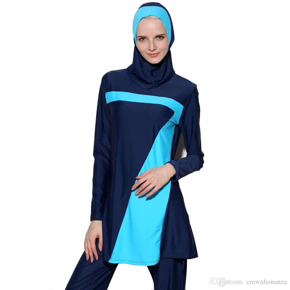 New Push Up long sleeve Muslim Swimwear islamic swim wear For Women Plus Size Modest Hijab Islamic Swimsuit Burkinis