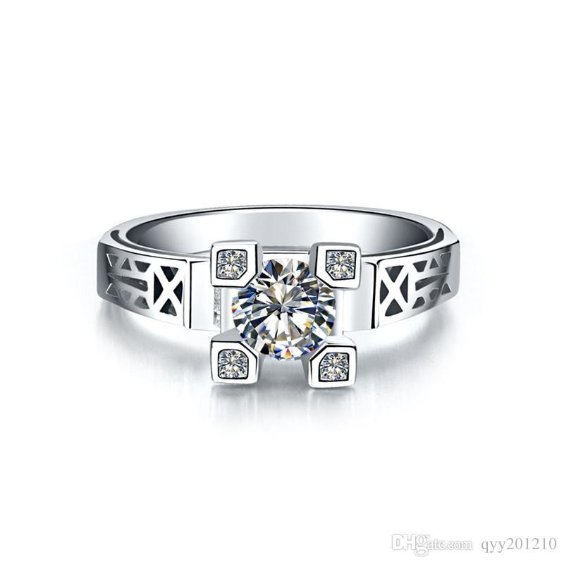 1Ct Classique Eiffel Bague Bague De Fiançailles pour Femmes Diamants Synthétiques Bague 925 Sterling Argent Blanc Or Couleur Eiffel Bijoux