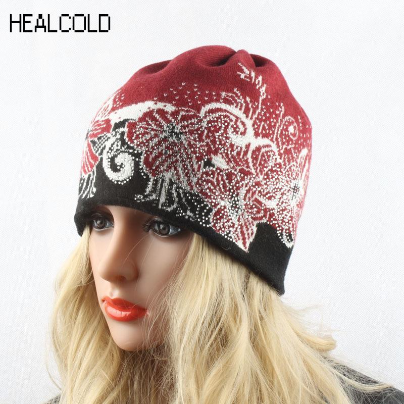 Winter Beanies For Women Wool Cashmere Hats Knitting Casual Warm Cap Ladies Skullies Diamond D18110102