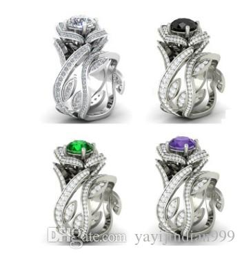 natural more color crystal jewelry storne rose flower 925 silver diamond lady's ring (7.92) size 6 7 8 9 10
