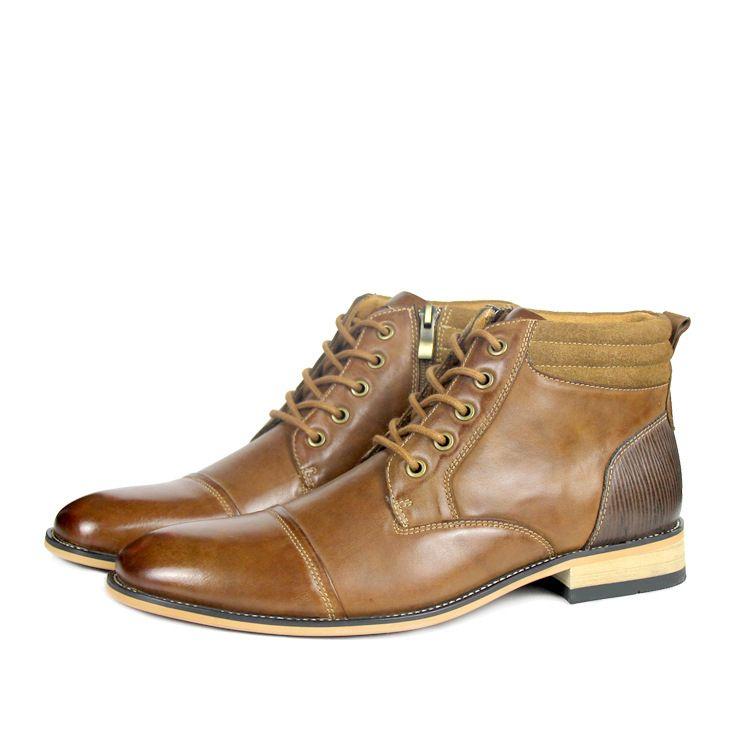 bajo precio f651d 24ae3 Compre Botas Casuales De Hombre Moda De Cuero Zapatos Casuales Urbanos  Calzado Hecho A Mano De Marca Para Hombre Botas Martin Cálidas En Otoño E  ...