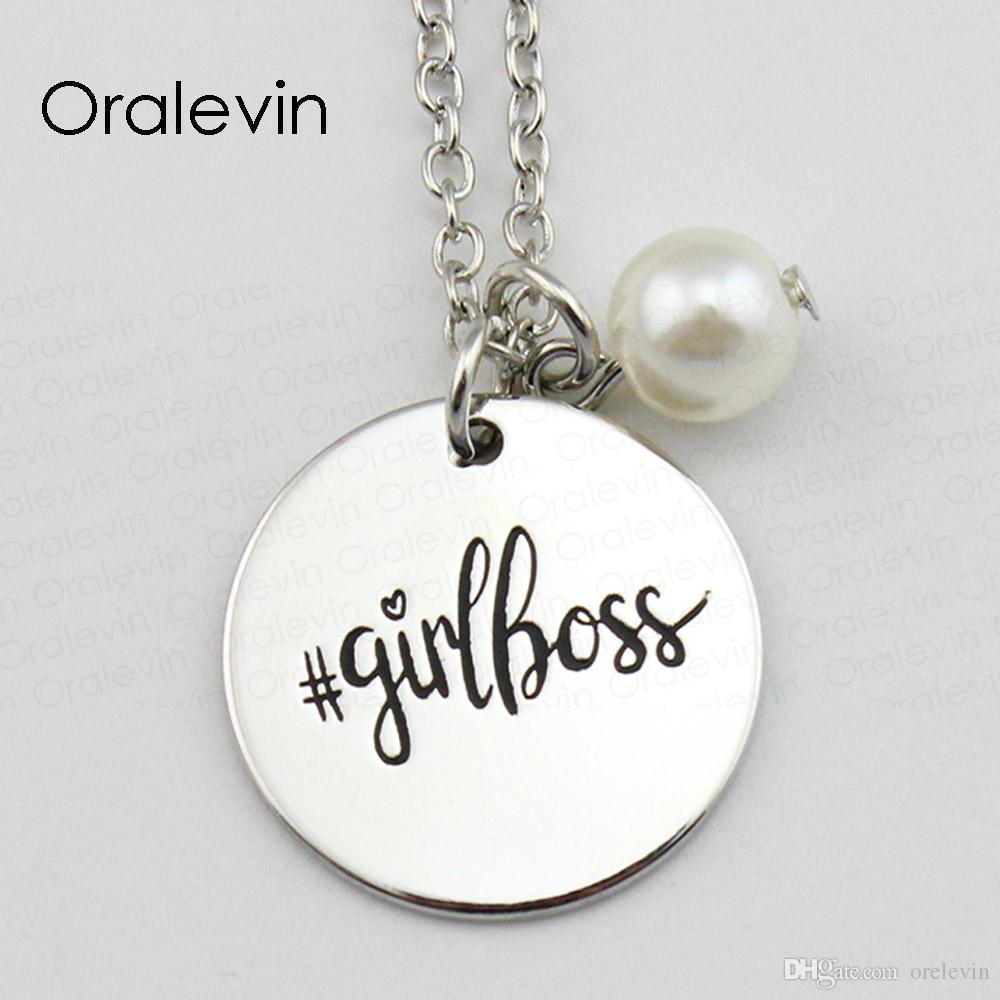 Горячая мода GIRLBOSS вдохновляющие ручной штамповкой выгравированы аксессуары пользовательские кулон ожерелье подарок металла штампованные ювелирные изделия, 10 шт. / лот, #LN1603