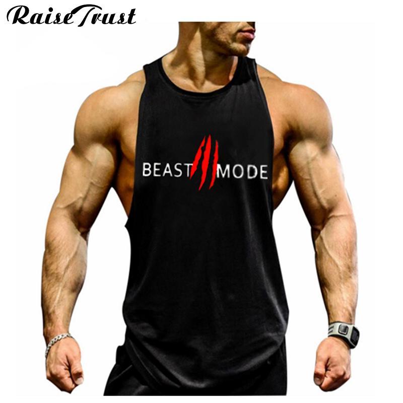 Nuove camicie senza maniche in cotone moda uomo 2018 Canotta fitness uomo Canottiera uomo Bodybuilding Plus Size Fitness Fitness Men