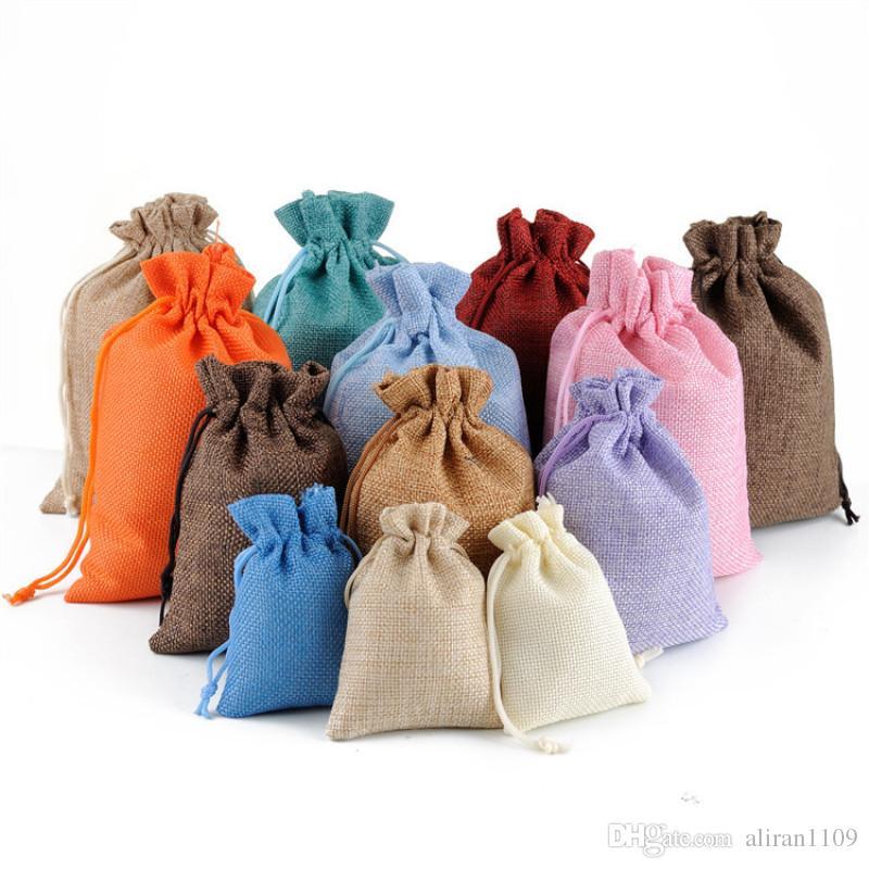 Naturale Hessian tela gioielli regali Borse corda di nylon coulisse sacchetto Candy Beads Borse per lo stoccaggio Wedding Party Favors Imballaggio sacchetto di iuta