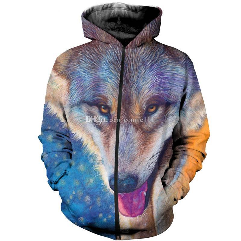 Herren 3D Druck Hoodies Sweatshirt Kapuzenpullover Jacken Mantel Wolf Pullover