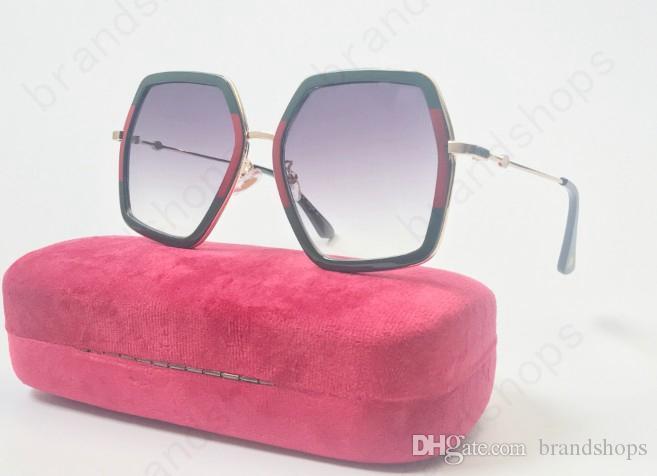 2018 Yüksek kalite lüks moda kadın erkek büyük çerçeve marka tasarımcısı vintage Gözlük LADY gözlük gölge Moda UV arı güneş gözlüğü ile cas