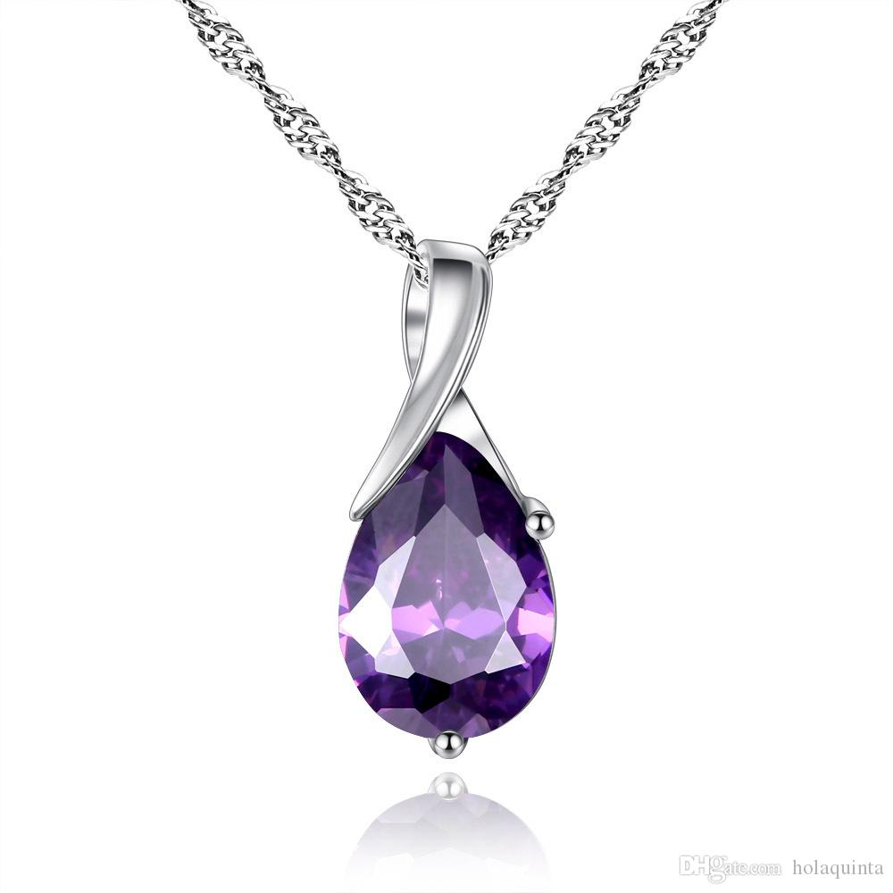 New Design Amythest Pendant Necklace 925 Sterling Silver 3 Layer Platinum PlatedTop Quality Jewelry