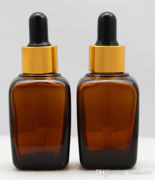 botella cuentagotas de vidrio cuadrado ámbar 30ml vape botella de cristal eliquid de aceite esencial logotipo de impresión de perfume disponible