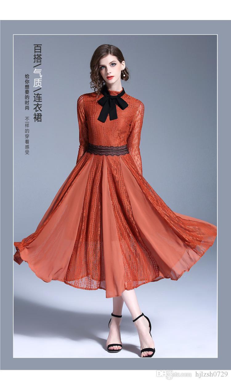 2018 automne nouvelle mode décoration féminine crochet corps fleur robe en dentelle creuse robe à manches longues autour du cou taille grande robe swing