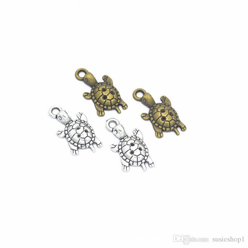 Bulk 500 Sztuk Charms Tortoise Wisiorek 22 * 11 mm Dobry dla DIY Craft, Biżuteria Dokonywanie antyczne Srebrne Brąz