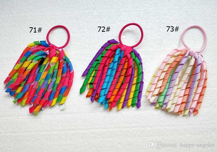 18 piezas de accesorios para el cabello de la muchacha O A-korker Cola de caballo titular del arco iris Corker serpentinas borla de la flor del pelo rizado de la cinta elástica sombreros PD002
