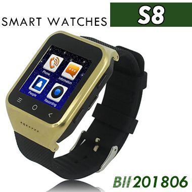 S8 Android 4.4 Smart Watch GSM Phone GPS MTK6572 Dual Core 512MB 4GB 2.0MP Fotocamera SIM 3G WiFi Bluetooth 4.0 WCDMA 1.54 pollici Smartwatch 20pcs