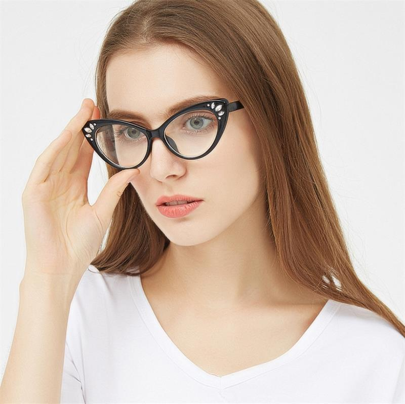 628b378710d 2018 cat eye glasses frame women Vintage transparent Rhinestone eyewear  frames luxury clear Pink nerd fashion eyeglasses oculos