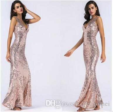 Elegantes vestidos de lentejuelas de cuello en V sin mangas sin tirantes apretados Vestido largo de lentejuelas rosadas vestidos de cena del banquete de boda