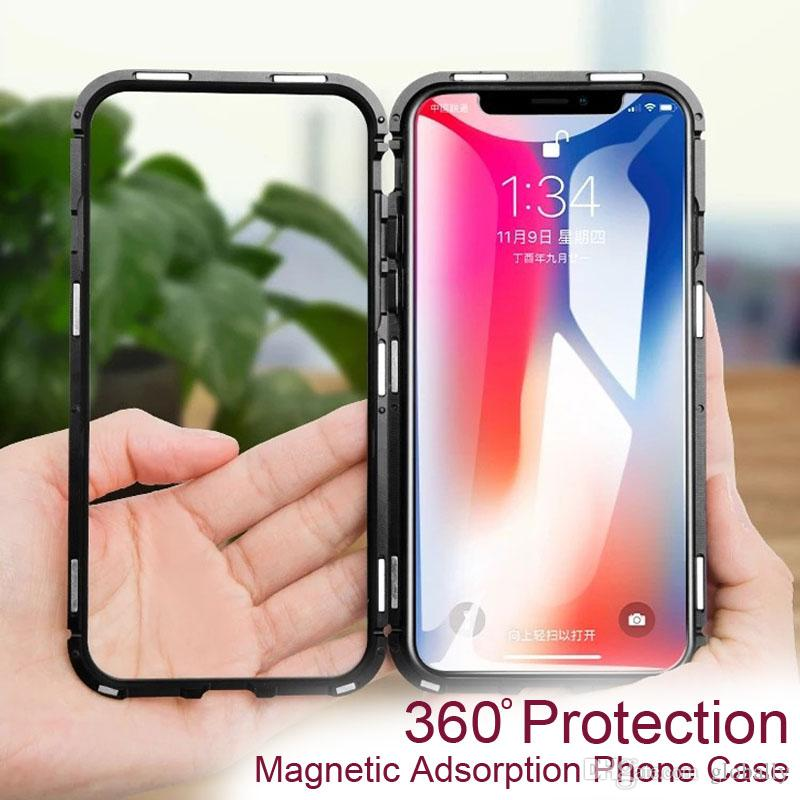Ultra Magnetic Adsorption Phone Case For iPhone X 10 8 7 6 6S S Plus Luxury Metal Absorption Back Glass Cover Flip Case with retail box