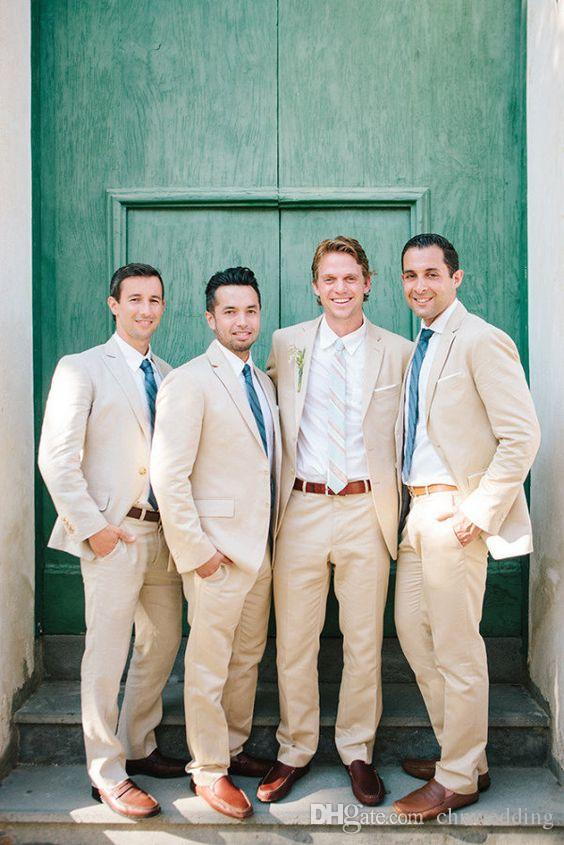 Traje Homme Caqui Lino Slim Fit Trajes de hombre para boda Trajes de novio de novio (Chaqueta + Pantalones) Padrino de boda Best Man Blazer Terno masculino