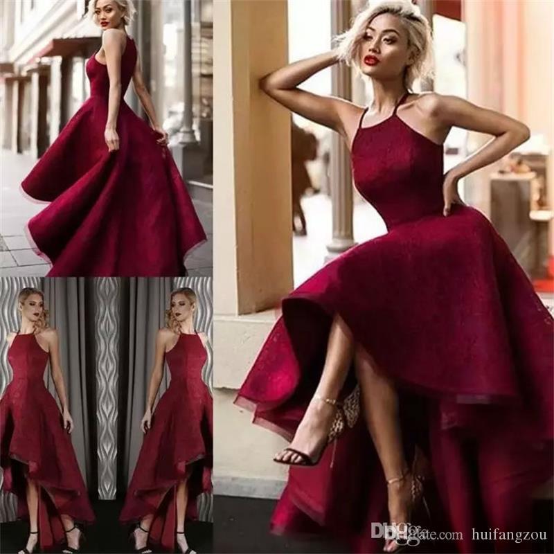 Dubai Vermelho Hi Lo Vestidos de Noite 2018 Halter Pescoço Rendas Sem Mangas Prom Vestidos de Celebridades Vestido de Festa