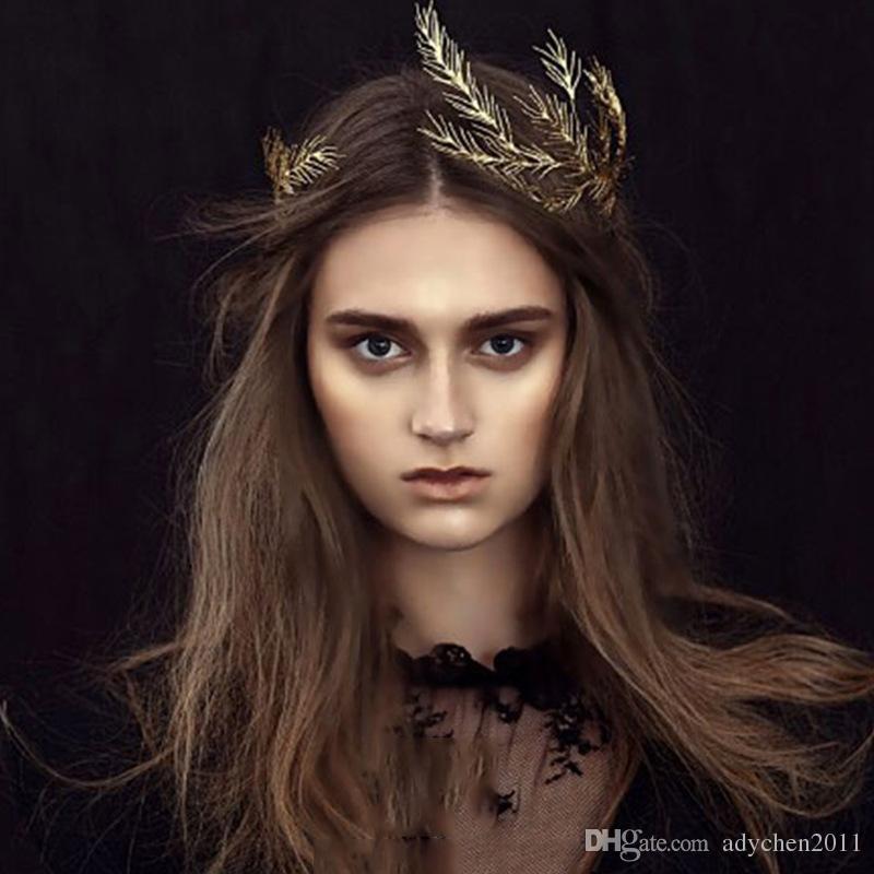 Vintage Gold Tiara Headband Baroque Crown Crystal Pearl Tiaras Crowns Hairband Wedding Hair Jewelry Bridal Accessories Headpieces Leaf