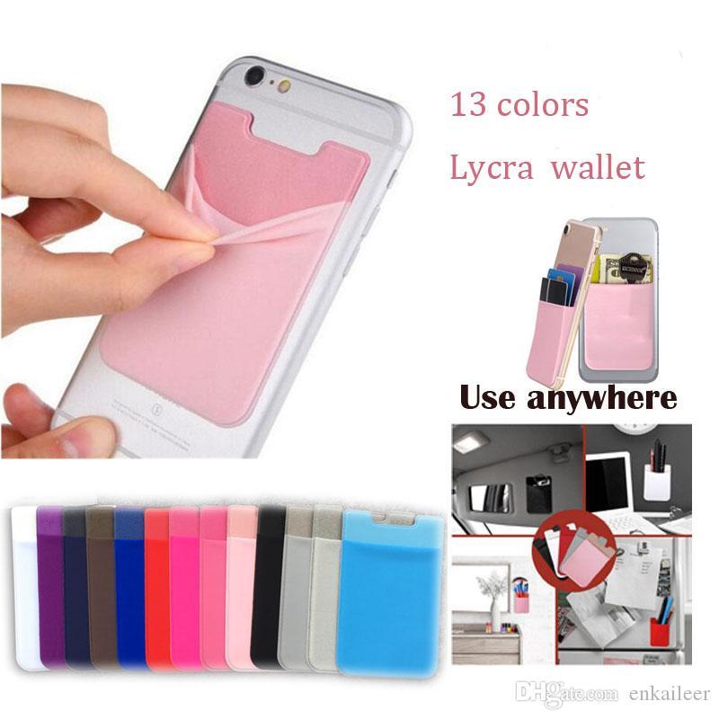 logo OEM elastica Lycra Cellulare Portafogli identificazione di accreditamento del supporto di carta intasca autoadesivo adesivo per iPhone 11 XS pro max 8 6 6s 7 Plus Samsung