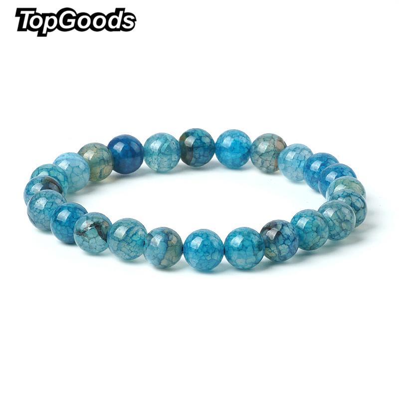 2018 Nouveau Naturel Craquelé Bracelet Bleu Agate Pierre Bracelets pour les Femmes 8mm Lâche Onyx Gemme Bracelets Sport Bijoux De Mode